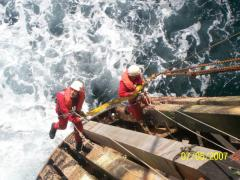 Rope Access Fender Replacement Offshore on AH001