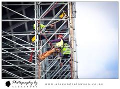 rope access on a scaffold at eden park