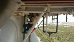 working under a crane on a rig