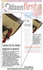 Cleaning Milton Keynes Peace Pagoda cover of MK Citizen First newspaper